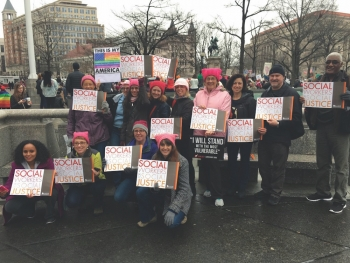 Social workers at the Women's March